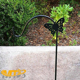 New mtb shepherd hook 64 inch butterfly style black strong rust resistant steel ideal for hanging planter bird feeders lanterns solar lights mason jars hummingbird feeder hanger shepherds hook 2 pack