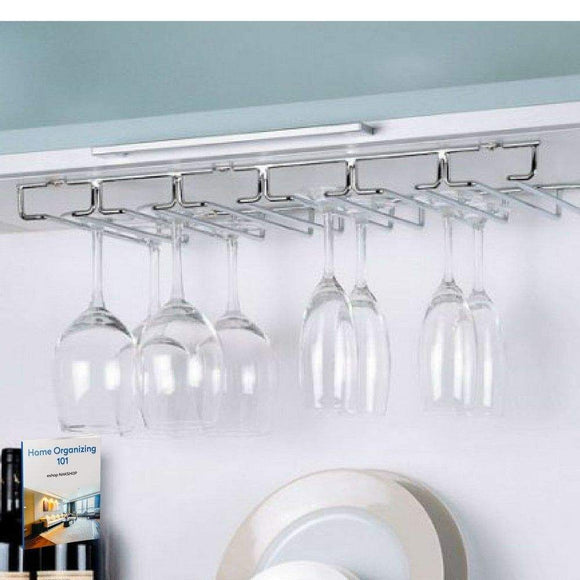 Heavy duty wine glass rack under cabinet hanging stemware rack kitchen organize modern wine glass hanger storage for bar mounting barware durable metal easy to install holder and ebook by nakshop