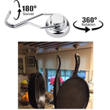 Home stylez 4 pcs heavy duty swivel magnetic swing hooks super strong all purpose stainless steel hangers