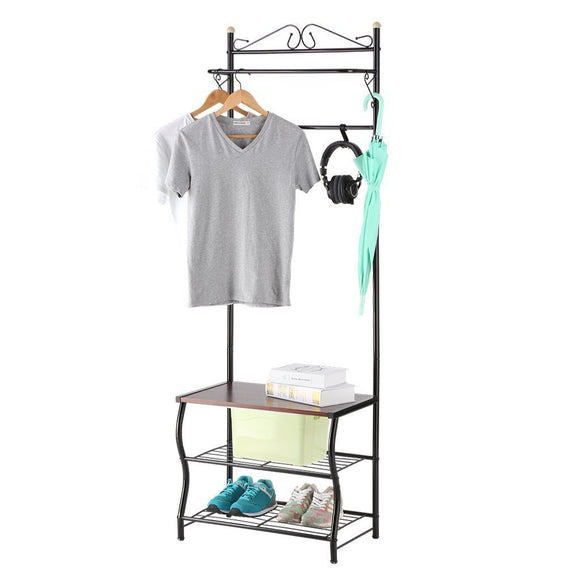 LANGRIA Entryway Coat Rack Metal Standing Hall Tree with 2-Tier Grid Wire Shoe Rack, Wooden Bench and Hat Umbrella Holder Features 5 Hooks (Black)