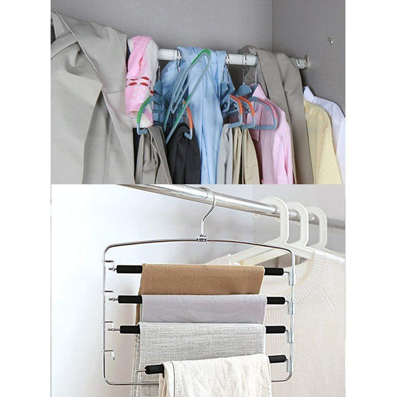 Discover the doiown pants hangers slacks hangers space saving non slip stainless steel clothes hangers closet organizer for pants jeans trousers scarf 4 pack large size 17 1high x 15 9width 1