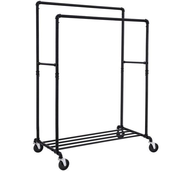 Best songmics industrial pipe double rail wheels with commercial grade clothing hanging rack organizer for garment storage display black uhsr60b