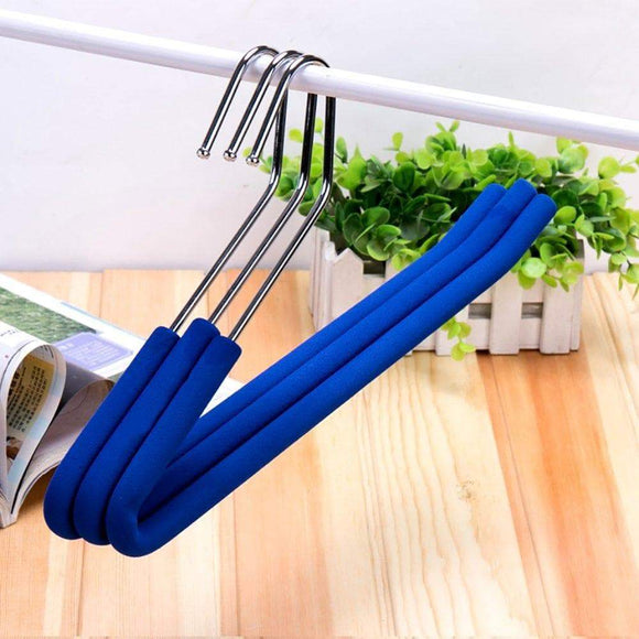 Selection absolutely perfect open end trouser hangers slack pant hanger with non slip foam coated blue 5 pack
