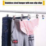 Top rated clothes hangers stainless steel with non slip clips hangers for pants metal skirt hangers heavy duty slack hangers adjustable clips resistant plated for skirt clothes jeans shorts trousers 20 pack