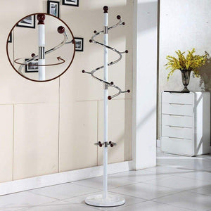 Heavy duty baiyun flyin mai coat rack metal stainless steel bedroom pedestal style living room hanger swivel hook h185cm color white