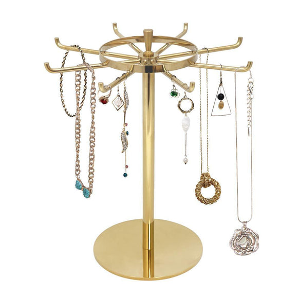 Discover the metal jewelry display stand gold rotatable table top jewelry display holder necklaces bracelets earrings ring hanging jewelry organizer gold