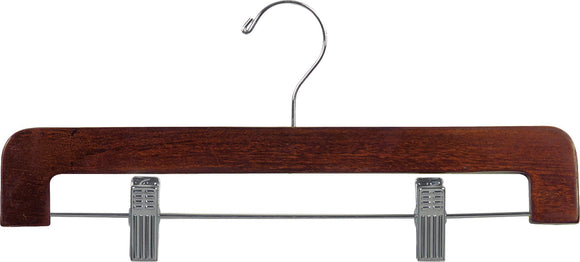 Save on the great american hanger company deluxe rounded wooden pant hanger w adjustable cushion clips box of 50 flat wood bottom hangers w walnut finish and chrome swivel hook for jeans slacks or skirt