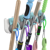 Products hitrends broom mop holder garden tool organizer multipurpose hooks hangers for bathroom laundry room closet garden garage and shed holds up to 20lb no trace no damage to the wall