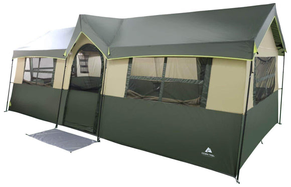 Selection spacious and comfortable ozark trail hazel creek 12 person cabin tent with two closets with hanging organizers room dividers mud mat e port and rolling storage duffel for convenience green