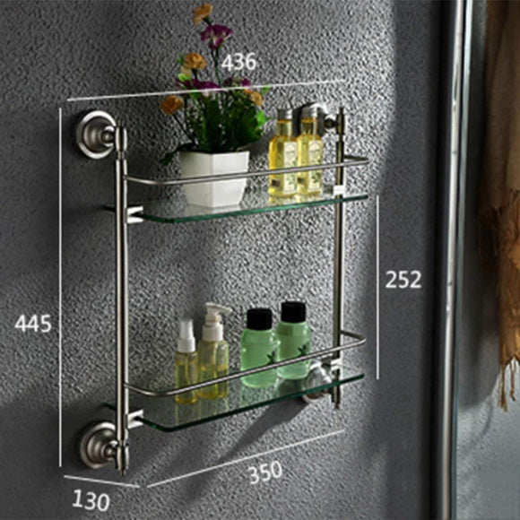 Exclusive deed wall hanging mount rack toilet shelf stainless steel bathroom shelf shelf bathroom glass shelf cosmetics double storage rack 43 6cm