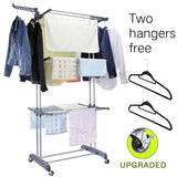 Buy 3 tier rolling clothes drying rack clothes garment rack laundry rack with foldable wings shape indoor outdoor standing rack stainless steel hanging rods gray electroplate gray