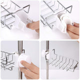 Buy leefe 2pcs kitchen faucet sponge holder stainless steel storage rack hanging sink caddy organizer for scrubbers soap bathroom detachable no suction cup or magnet no drilling