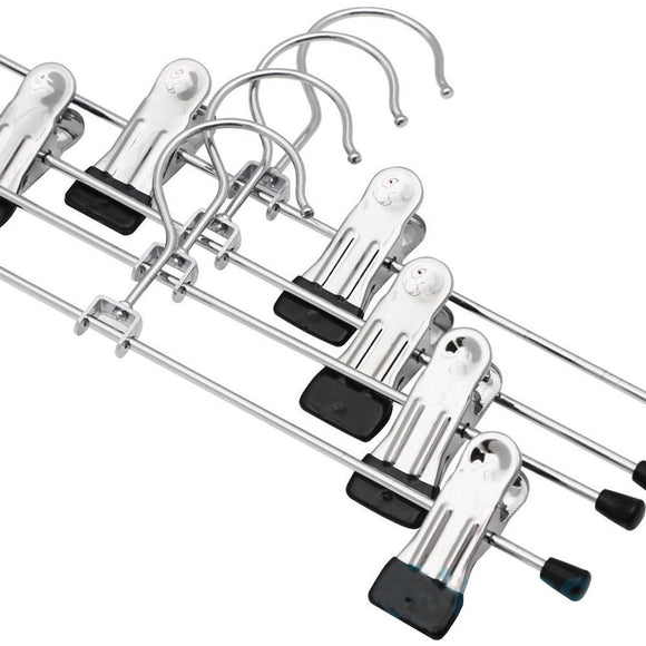 Budget ounona stainless steel clothes drying hanger with clips pants drying rack 20pcs