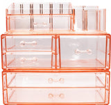 Selection sorbus acrylic cosmetics makeup and jewelry storage case display sets interlocking drawers to create your own specially designed makeup counter stackable and interchangeable pink