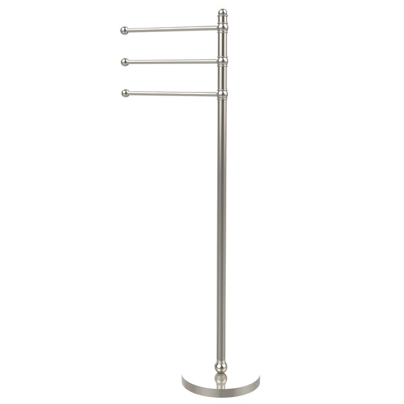 Allied Brass GLT-3-PNI 49-Inch Towel Stand with 3 12-Inch Arms, Polished Nickel