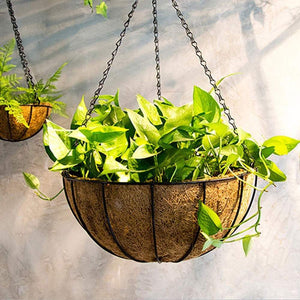 Related evniset 12 hanging plant bracket hook iron decorative plant hanger for flower basket bird feeder wind chime lanterns with 8 round coir hanging basket screw mount against