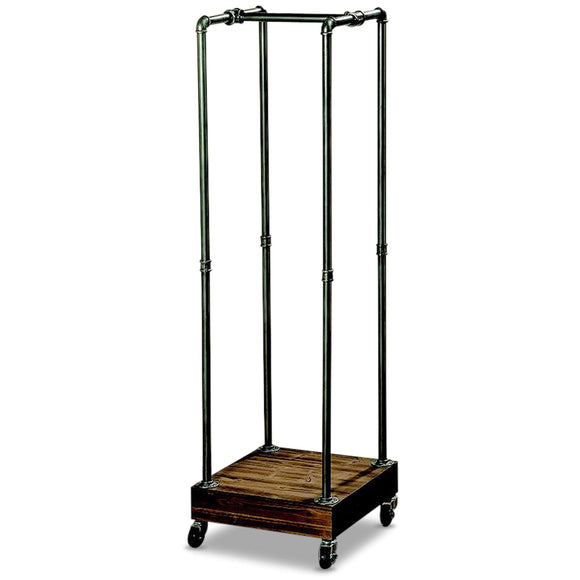WHW Whole House Worlds The Industrial Chic Coat Rack, Rolling Garment Holder, Castors, Metal Pipes with Lacquer Finish, Wood Base, 5 Ft Tall, (60 1/4 Inches) Mobile Closet