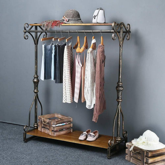 Save qianniu industrial clothing rack display commercial grade heavy duty garment rack with shelves vintage steampunk hat rack shoes rack cloth hanger 47