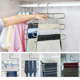 Shop here lucky life 4 pack pants hangers s shape stainless steel cloth hangers space saving organizer for jeans pants scarf
