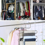 The best lucky life 4 pack pants hangers s shape stainless steel cloth hangers space saving organizer for jeans pants scarf