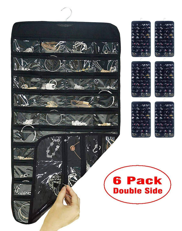 Shop for aarainbow 6 packs hanging plastic jewelry organizer bag 80 pockets dual sided non woven transparent foldable organizers and storage for closet nightstand drawer women girl 6 black