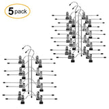 Products utovme 4 tier jeans trouser skirt scarf hanger adjustable clips stainless steel black vinyl 5 pcs