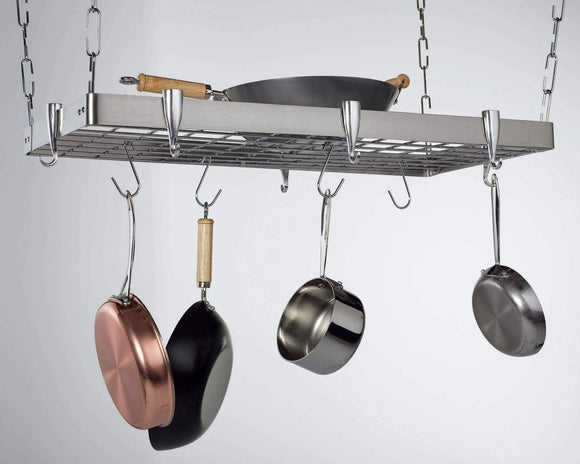 Top concept housewares pr 40905 stainless steel hanging pot rack rectangular