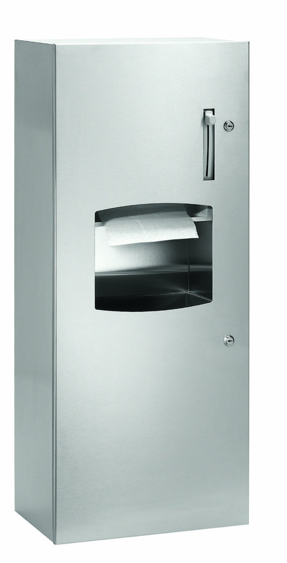 Bradley 2277-100000 Contemporary Stainless Steel Semi-Recessed Mounted Towel Dispenser/Waste Receptacle, 17-3/8
