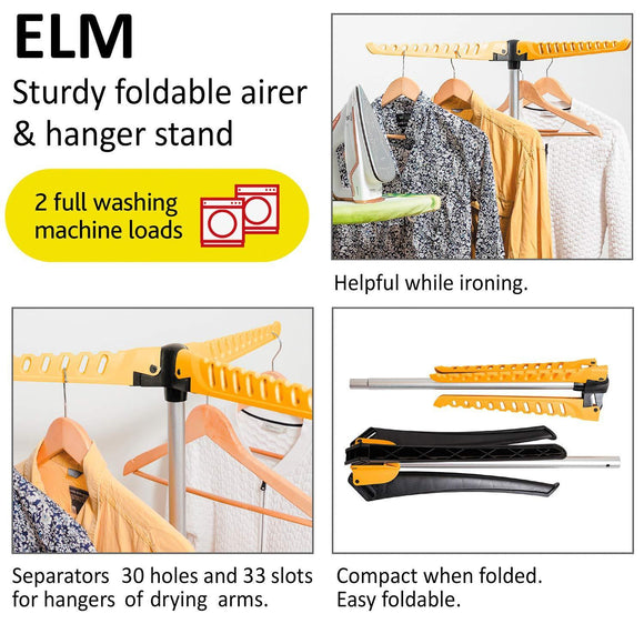 Exclusive artmoon elm collapsible clothes drying rack foldable tripod hanger stand portable indoor outdoor durable constuction up to 63 hangers