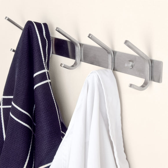 Coat Rack Hooks, Durable Stainless Steel Organizer Rack with Solid Steel Construction, Perfect for Towels/Robes/Clothes for Bathroom, Kitchen, Garage, 8 Hooks