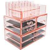 Shop sorbus acrylic cosmetics makeup and jewelry storage case display sets interlocking drawers to create your own specially designed makeup counter stackable and interchangeable pink