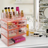 Selection sorbus acrylic cosmetics makeup and jewelry storage case display sets interlocking drawers to create your own specially designed makeup counter stackable and interchangeable pink 1