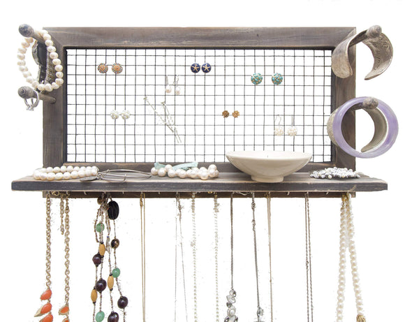 Explore socal buttercup rustic jewelry organizer wall mount with bracelet pegs necklace holder earring hanger hanging mounted wooden shelf to display earrings necklaces and accessories from