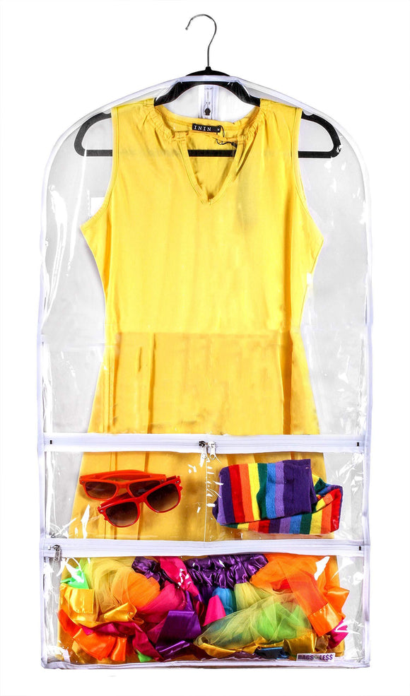 New clear gusseted suit garment bag 20 inch x 38 inch dance dress and costumes hanging travel storage for clothes shoes and accessories water resistant organizer