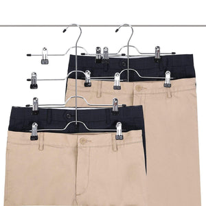Order now utovme 4 tier jeans trouser skirt scarf hanger adjustable clips stainless steel black vinyl 5 pcs