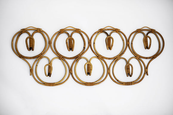 Italian Rattan Coat Rack by Bonacina
