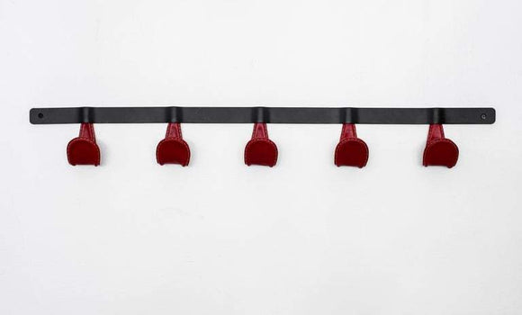 Atelier Leather and Iron Coat Rack - Red