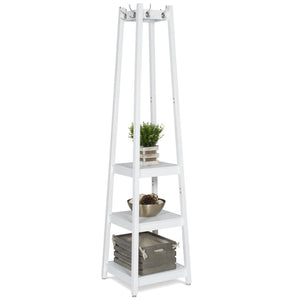 3-Tier Shelf Storage Coat Rack - White