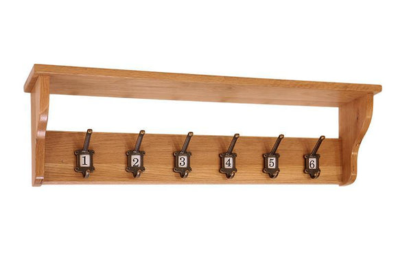 OAK SCHOOL Coat Rack with 6 numbered hooks