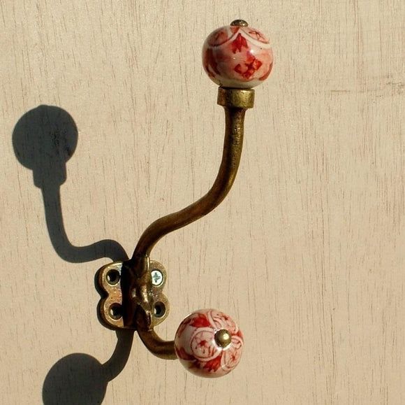 Antique brass effect Double Hook with Ceramic knobs - Red