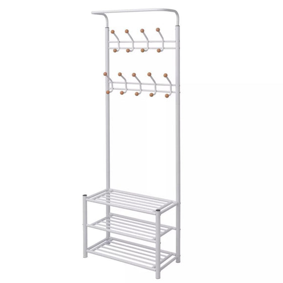 Clothes Rack with Shoe Storage 68x32x182.5 cm White