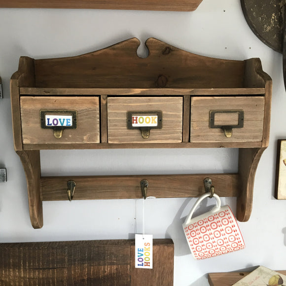 Wood Wall Rack with 3 drawers and 3 hooks