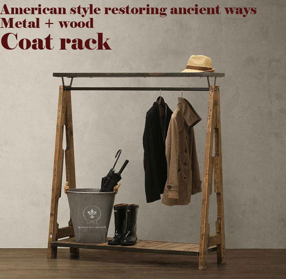 American Pastoral Retro Coat RackNostalgic Style WardrobeClothing Display RackLoftMetalWoodPure Handmade Bedroom Furniture