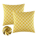 KEYNOTES Yellow Throw Pillow Covers 20x20, [Set of 2] Soft Accent Home Decorative Cushions Covers, Square Geometric Mustard Cotton Throw Pillow Cases Shams with Zipper for Couch Sofa Bed Chair