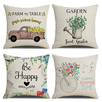 "KACOPOL Spring Pillow Covers Farmers Market Vintage Truck Bicycle Flower Home Decorative Cotton Linen Throw Pillow Case Cushion Cover for Cottage Farmhouse 18"" x 18"" (Hello Spring)"