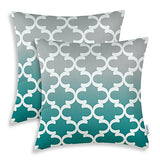 CaliTime Pack of 2 Canvas Throw Pillow Covers Cases for Couch Sofa Home Decor Modern Gradient Quatrefoil Accent Geometric 18 X 18 Inches Gray to Teal