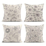 Tarolo Set of 4 Linen Throw Pillow Cover Case Sparklers Floral Patterns Decorative Pillow Cases Covers Home Decor Square 16 x 16 Inches Pillowcases