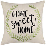 "DecorHouzz Burlap Rustic Home Sweet Home Embroidered Decorative Lumbar Pillow Cover for Housewarming Guest Entryway Family Farmhouse Beach Porch Bench (Welcome (Natural), 12""x20"")"
