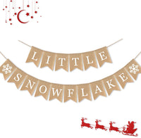 7-gost Burlap Little Snowflake Banner Baby Shower Winter Party Birthday Garland Decorations