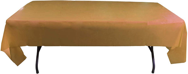 Exquisite 12-Pack Premium Plastic Tablecloth 54in. x 108in. Rectangle Table Cover - Gold